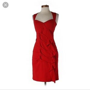 Nicole Miller Red Silk Dress
